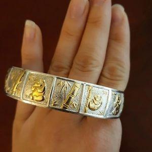 Gold Sterling Silver RARE Panda Bamboo Hawaiian
